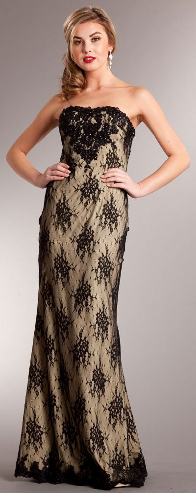Strapless Floral Mesh Beaded Long Formal Evening Dress