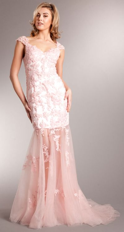 Romantic Full Length Floral Tulle Overlay Prom Dress