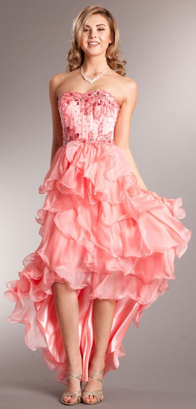 Strapless High-Low Cocktail Prom Dress with Ruffled Skirt