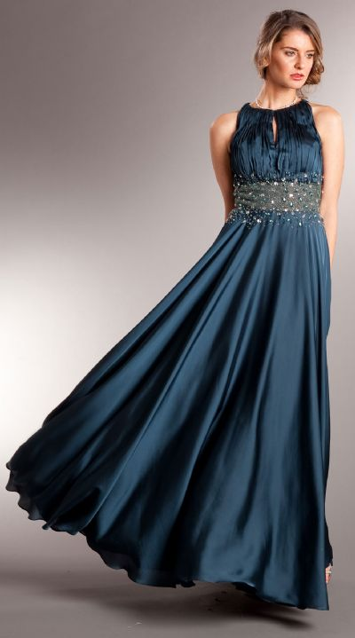 Ruched Bust Beaded Empire Cut Long Formal Prom Dress