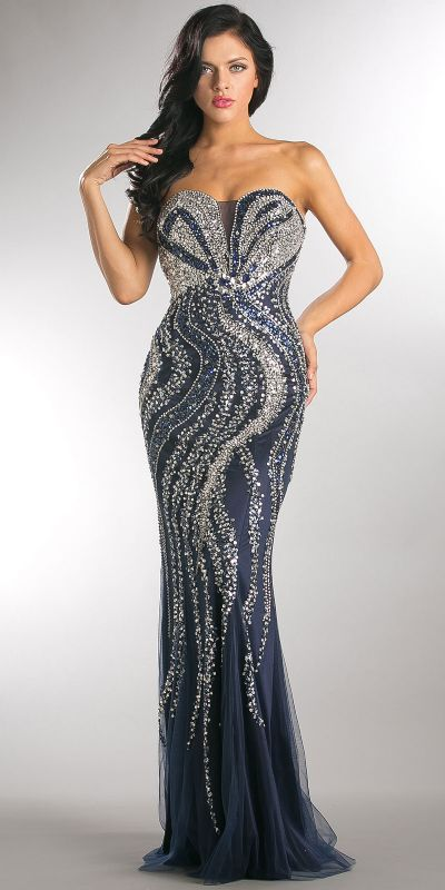 Strapless Bejeweled Bodice Mesh Long Formal Prom Dress
