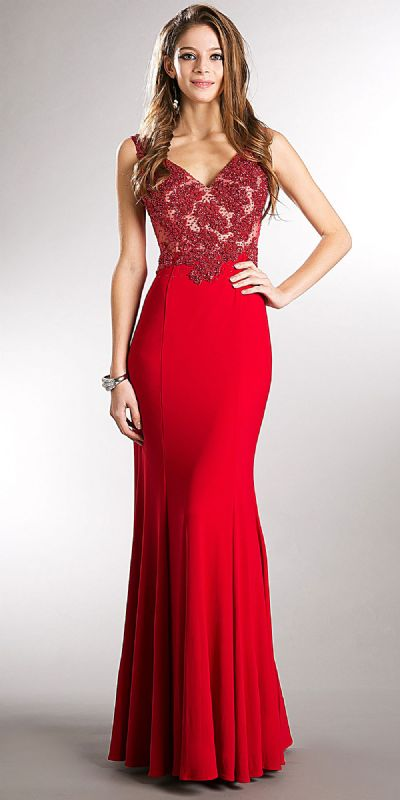 V-neck Beaded Bodice Fitted Long Formal Prom Dress