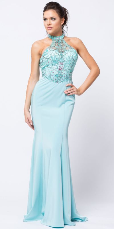Beaded Halter Mesh Top Flared Skirt Long Prom Dress