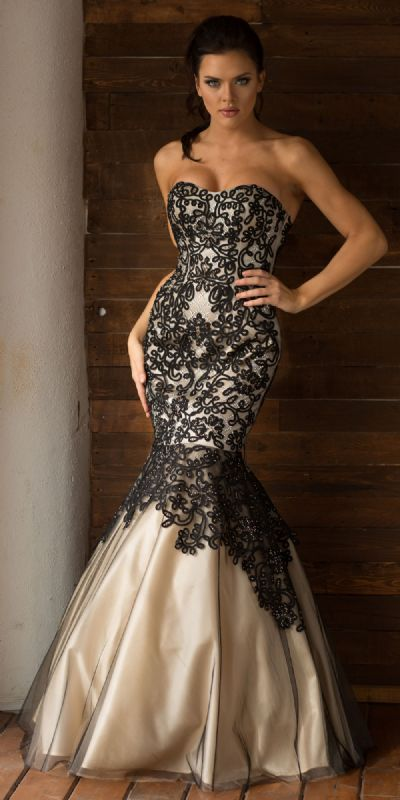 Strapless Ribbon Pattern Mesh Mermaid Long Prom Dress