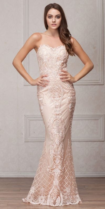 Beads & Lace Accent Long Fitted Formal Prom Pageant Dress