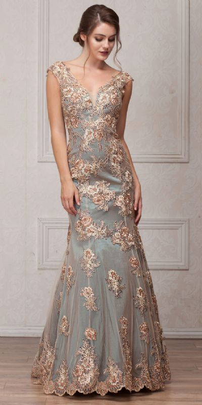 V-Neck Floral Embellishments Mesh Long Prom Pageant Dress