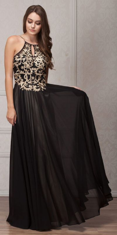 Gold Accent Keyhole Mesh Bust Long Formal Evening Dress