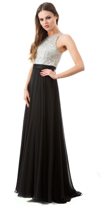 Jewel Bodice Chiffon Skirt Long Formal Prom Dress