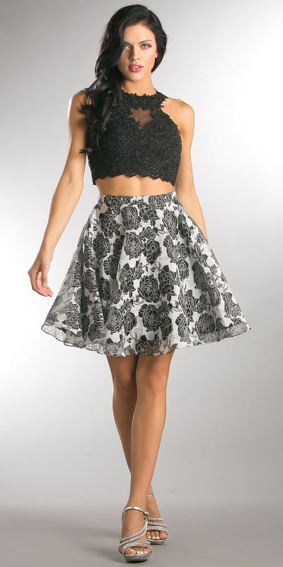 Lace Embellished Crop Top with Floral Print Puffy Skirt
