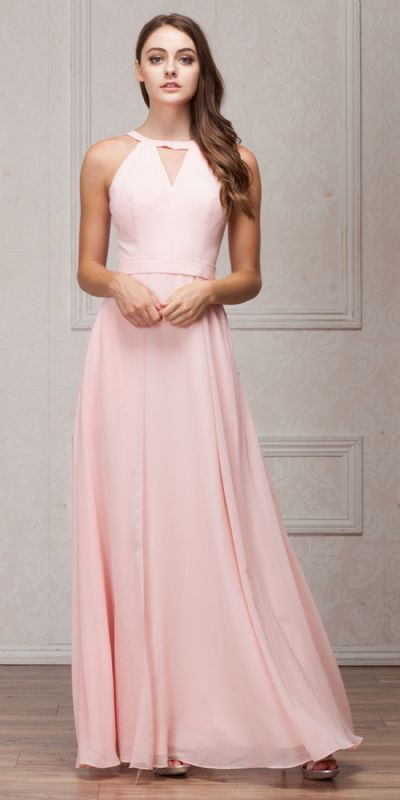 High Round Neck Princess Cut Long Bridesmaid Dress