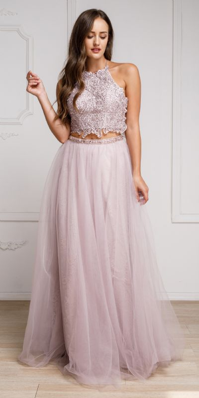 Dazzling Embroidered Two Piece Halter Prom Dress
