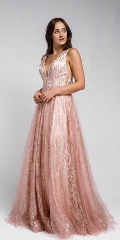 V Neck Vines Pattern Tulle Prom Gown