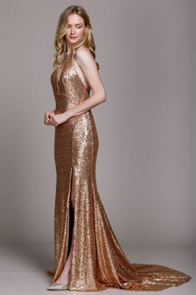 Sequinned Shimmering Halter Neck Prom Formal Gown