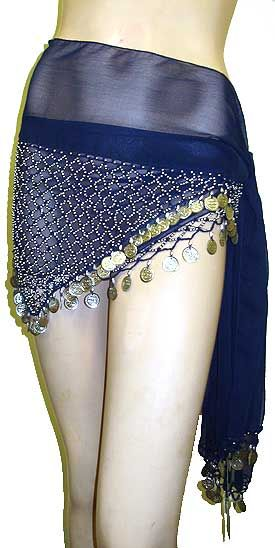 Belly Dancer Beaded Hip Scarf (Navy/Silver)