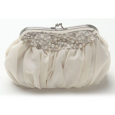 Pearl Beaded Chiffon Evening Bag with Kiss Lock.