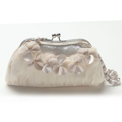 Floral Chiffon Evening Bag with Chain Shoulder Strap