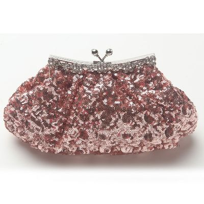Sequined Small Evening Bag with Studded Trim