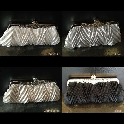 Patterned Satin Evening Bag with Metal Trim
