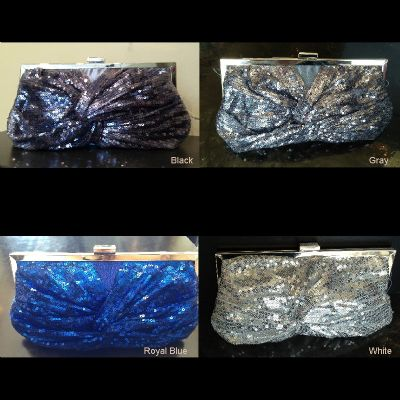 Front Twist Sequined Evening Bag with Metal Trim