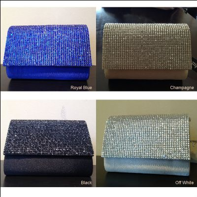 Rhinestones Flap Evening Bag in Polyester Satin