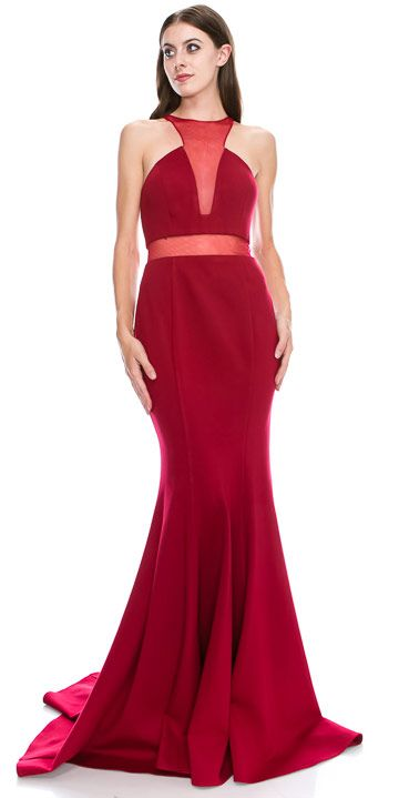Mesh Neckline & Waist Solid Floor Length Formal Prom Dress