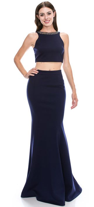 Beaded Neck Crop Top Fitted Skirt Two-Piece Prom Dress