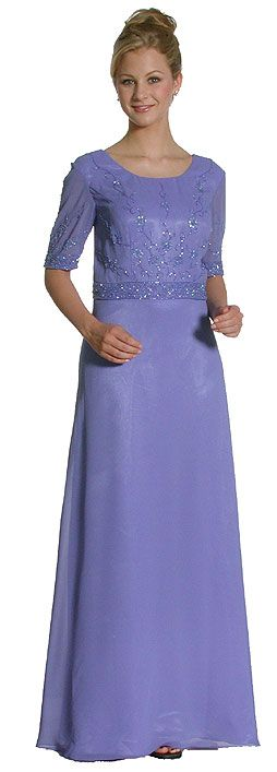 A Shape Half-Sleeved Beaded Long Formal Gown