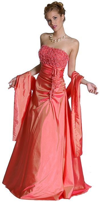 Off Shouldered Miniature Flower Taffeta Prom Dress