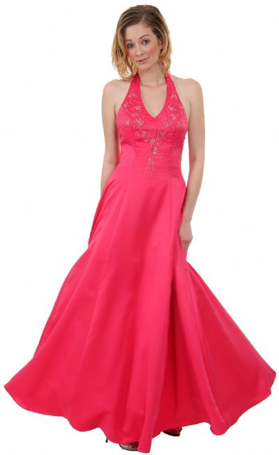 Beaded Halter-Neck Prom Dress