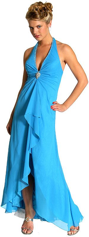 Halter Neck Formal Prom Dress with Ruffles and Brooch