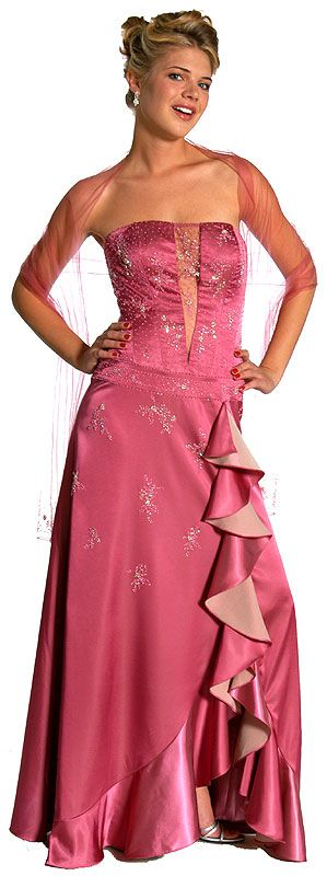 Strapless Beaded Prom Dress with Cascading Ruffles