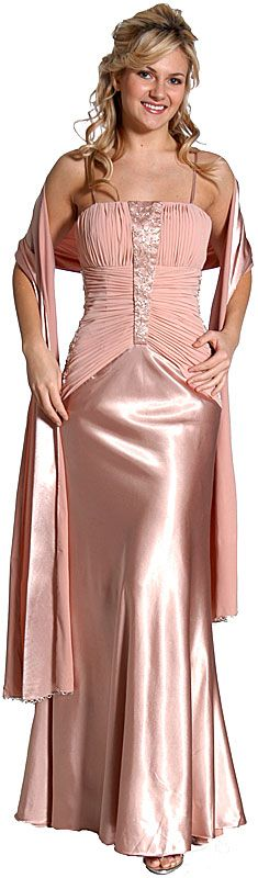 Pleated Long Formal Beaded Prom Dress