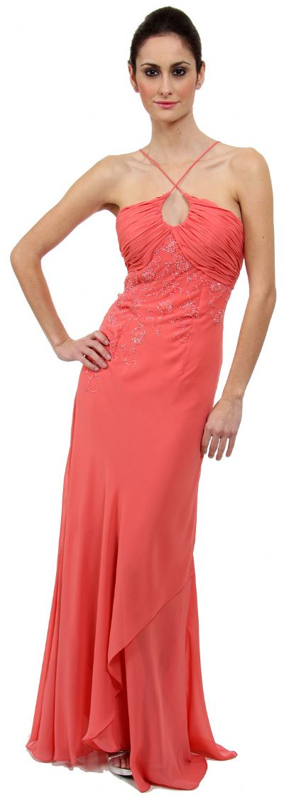 Keyhole Ruched Bust Beaded Formal  Prom Dress