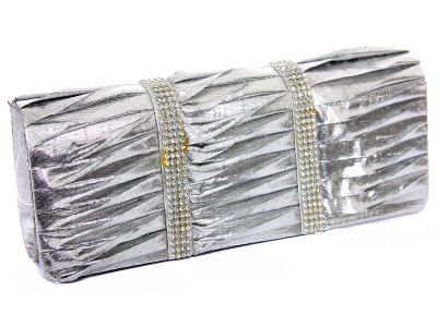 Rhinestone Embellished Satin Evening Bag in Silver