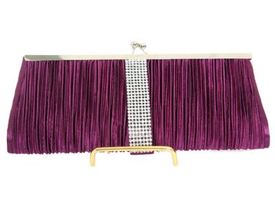 Ruched Elegance Evening Bag in Purple