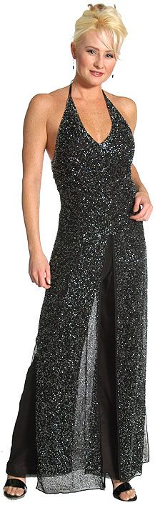 Halter Neck Beaded Long Dress with Attached Pants