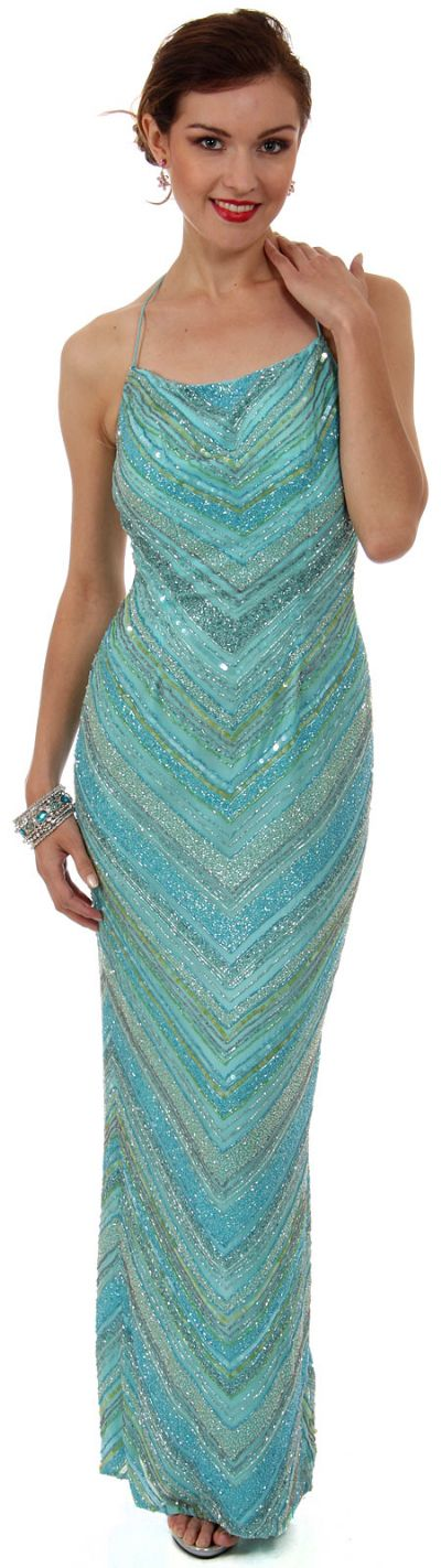 Spaghetti Straps Multi Colored Formal Beaded Gown in Aqua