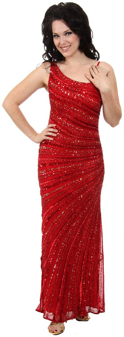 Striped Sequin Beaded Formal Evening Dress