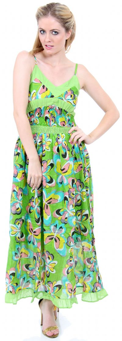 Spaghetti Strapped Butterfly Print Summer Dress in Lime