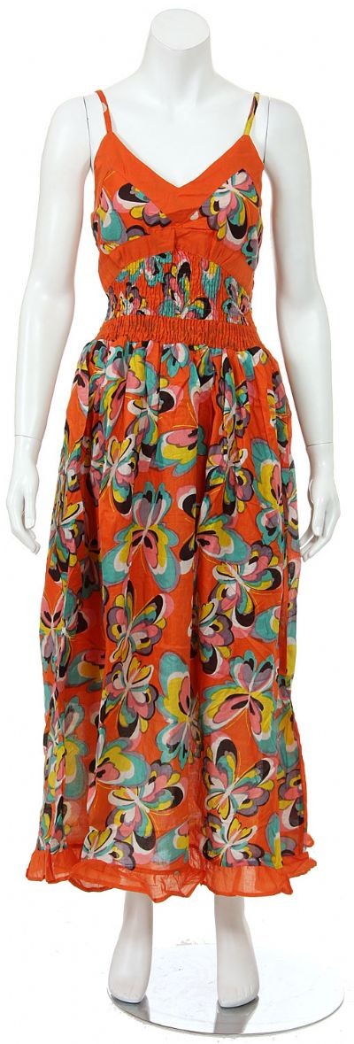 Spaghetti Strapped Butterfly Print Summer Dress in Orange