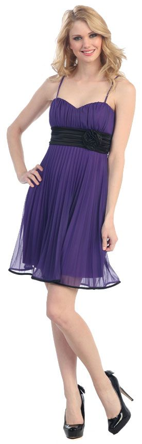 Pleated Short Bridesmaid Dress with Ruched Waistline