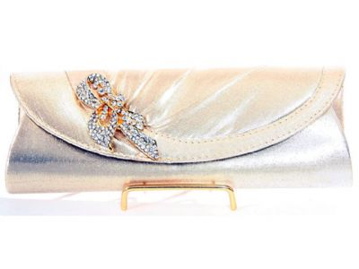 Satin Evening Bag with Studded Brooche in Gold