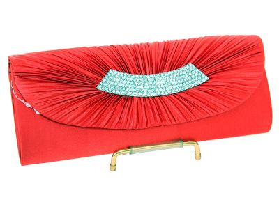 Rhinestone Embellished Satin Evening Bag in Red