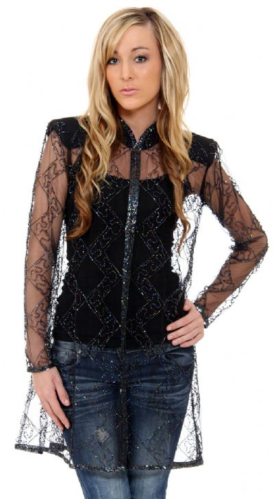 Long Beaded and Netted See-Through Jacket