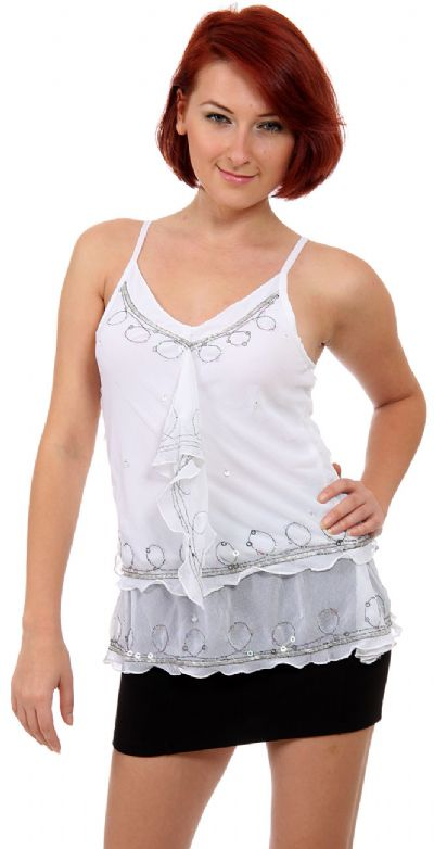 Ruffled and Beaded Spaghetti Strapped Top