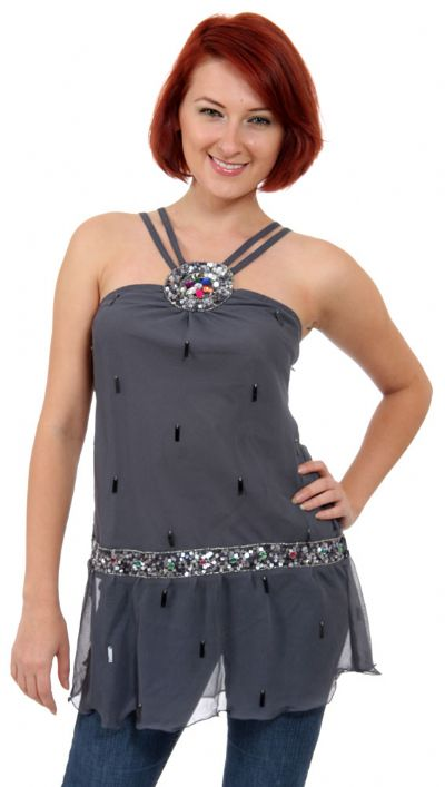 Double Strapped Assymetrical Sequined Top