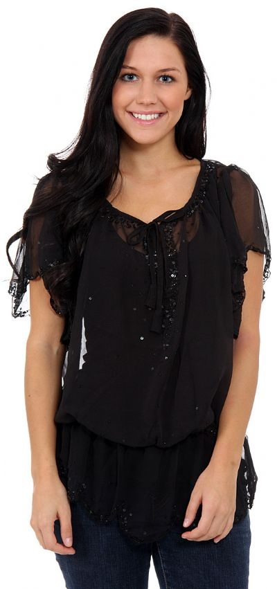 Short Sleeved Assymetric Sheer Top