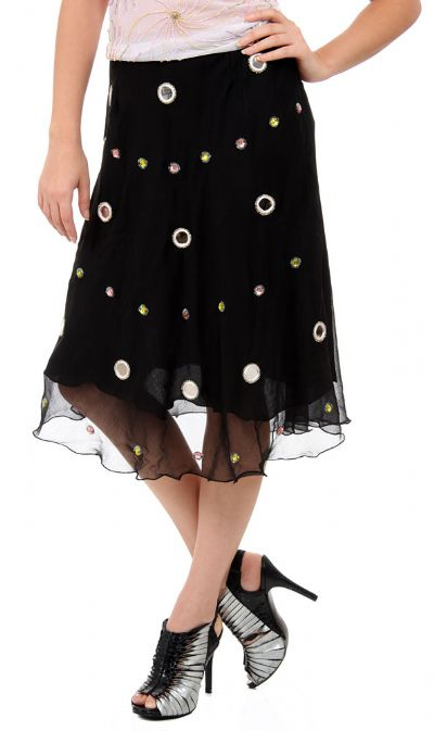 Embellished Circles Knee Length Skirt