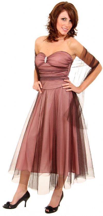 Strapless Ruched Medium Length Mesh Formal Dress