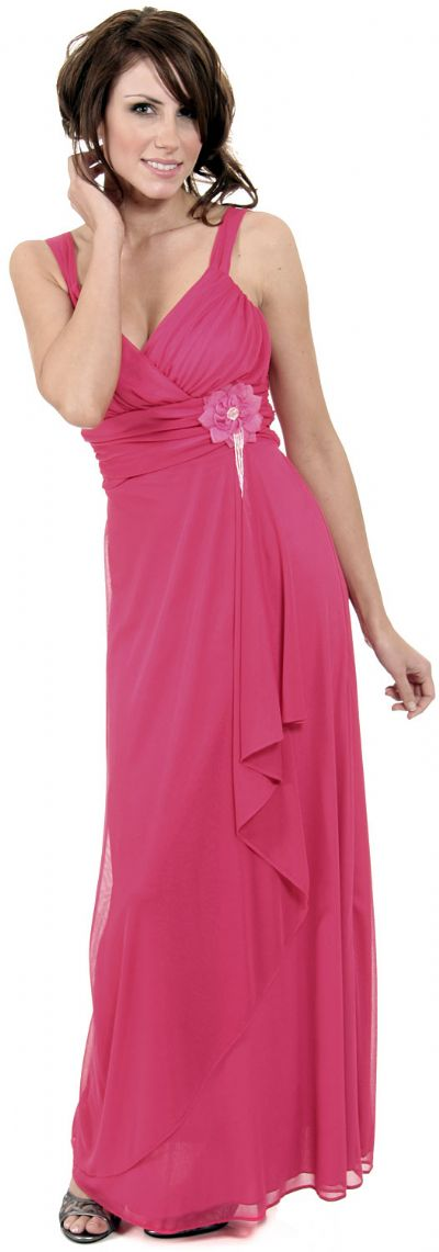 Elegant Wrap Around Shirred Bridesmaid Dress